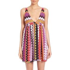 Missoni Mare Printed Babydoll Dress ($835) ❤ liked on Polyvore featuring dresses, apparel & accessories, multicolor, sleeveless v neck dress, v neck empire waist dress, red dress, fringe hem dress and red empire waist dress