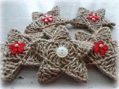 Girlanden & Wimpelketten - 5 Sterne gehäkelt aus Paketschnur - ein Designerstück von mausimom bei DaWanda