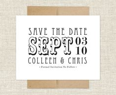 20 save the date cards printed on smooth white paper with paper bag