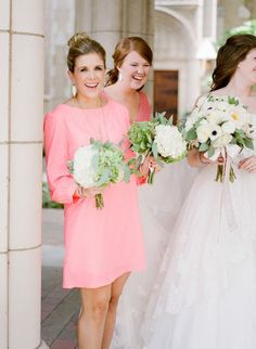 best winter bridesmaid dress style ideas -- love this sweet pink long sleeved dress