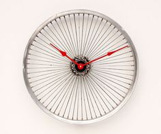 Recycled Bicycle Wheel clock by pixelthis on Etsy, $117.00