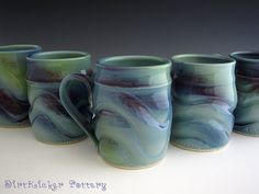 Aurora Borealis Mug - Large Coffee Mug - Porcelain Handmade Pottery Mug - by DirtKicker Pottery Slab Pottery, Thrown Pottery, Glazes For Pottery, Pottery Mugs, Ceramic Pottery, Ceramic Techniques, Pottery Techniques, Glazing Techniques, Ceramic Cups