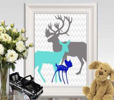 Baby boy nursery wall art Deer Nursery print Navy Turquoise gray Happy Deer family Deer Printable Buck Doe fawn DOWNLOAD 5x7 8x10 11x14 by DorindaArt on Etsy https://www.etsy.com/listing/239205929/baby-boy-nursery-wall-art-deer-nursery