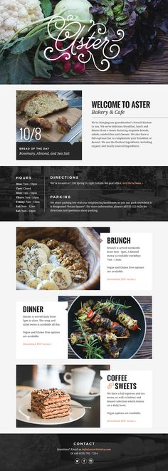 Aster Bakery & Cafe Web Design on Behance