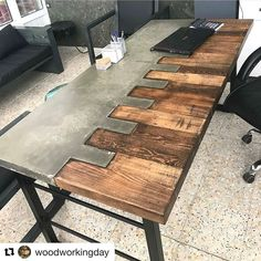Fine Wood Table Designs Look around as you move throughout your day. You see examples of man's mastery of woodworking everywhere. From mailbox posts to pieces of furniture and art to full buildings, the power to use wood to create is Concrete Furniture, Concrete Wood, Metal Furniture, Industrial Furniture, Diy Furniture, Furniture Design, Furniture Stores, Concrete Table Top, Office Furniture