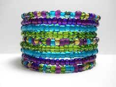 Purple and Green glass beaded memory wire bracelet