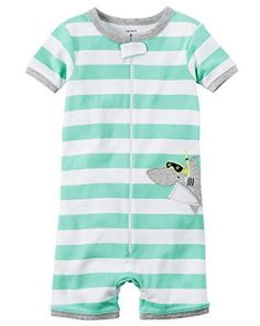 Carters Baby Boys 1Piece Snug Fit Cotton Romper Pajamas 18 Months SharkMint Stripe >>> You can get more details by clicking on the image.Note:It is affiliate link to Amazon.