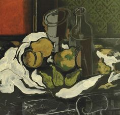 thunderstruck9:  Georges Braque (French, 1882-1963), Fruits, verre et bouteille [Fruit, glass and bottle], 1924. Oil on board laid down on cradled panel, 55 x 56.8 cm.