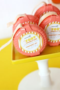 Gumball measuring tape- great favor for an construction party. Printable by Wants and Wishes Design