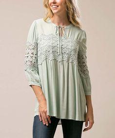 Mint Floral Crochet-Accent Three-Quarter Sleeve Tunic