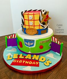 The Bake More: Toy Story Cake - Buzz and Woody Woody Birthday Parties, Toy Story Birthday Cake, 4th Birthday Cakes, Third Birthday, Birthday Ideas, Toy Story Cake Toppers, Toy Story Cupcakes, Bolo Toy Story, Toy Story Baby