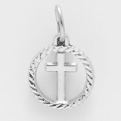Cross Charm $17.50 http://www.charmnjewelry.com/category/sterling_silver/Religious_Charms.htm #ReligiousCharm