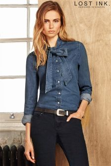 Denim Pussybow Blouse - nice alternative to denim jeans, but still smart