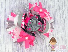 Hair Bow  Little Pink Elephant Stacked Boutique by SoChicBoutiques, $15.50