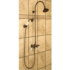 Exposed Pipe Shower With Hand Shower - Bathroom