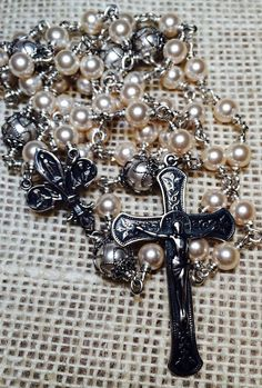 Beautiful and timeless Immaculate Conception sterling silver wire wrap rosary with Swarovski Pearl beads by Et Corde Rosaries & Jewelry