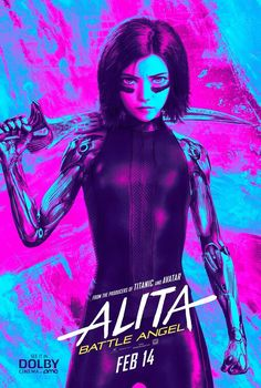 Movie poster for Alita Battle Angel, voted 2019 movie of the year, a James Cameron film. It seems that James Cameron can not miss when it comes to his projects, they are always a hit! Hindi Movies, Movies 2019, New Movies, Movies Online, Comic Movies, Movie Characters, Science Fiction, Fiction Movies, Disney Pixar