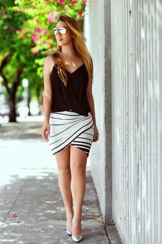 dcc63c69df Hot Miami Styles Black And White Striped Drape Wrap Mini Skirt - Beautiful  Clothes Photo