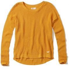 Hollister Iconic Pullover Sweater (110 BRL) ❤ liked on Polyvore featuring tops, sweaters, yellow, slit top, pullover sweaters, waffle knit sweater, pullover tops and waffle sweater