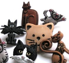 Feline Frenzy  Buttons   8 Cat Shanked Buttons by DestinyPhoebe, $6.50