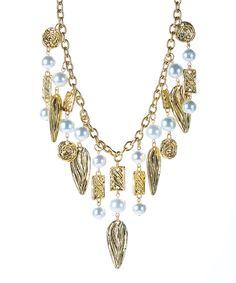 Karine Sultan Gold & Faux Pearl Geometric Bib Necklace   zulily