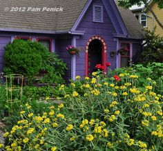 Author and designer Lucinda Hutson's gabled purple cottage and garden in the Rosedale neighborhood of Austin