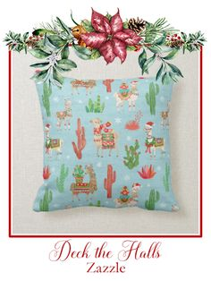 Shop Lovely Llamas Christmas Light Teal Pattern Throw Pillow created by wildapple. Personalize it with photos & text or purchase as is! Wedding Color Schemes, Wedding Colors, Christmas Lights, Christmas Decorations, Llama Christmas, Santa Claus Hat, Cute Llama, Light Teal, Llamas
