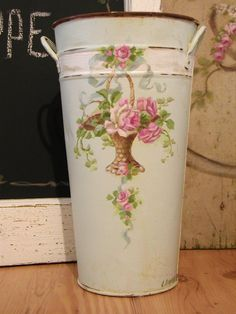 hand painted roses in a basket...