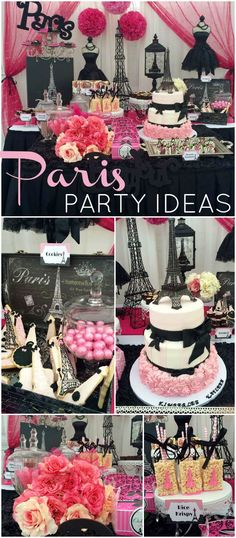 What a gorgeous pink and black Paris birthday party! See more party ideas at CatchMyParty.com!: