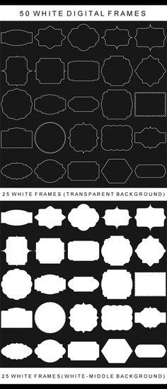 50 White Digital Frames, Classic Frames, Digital Clipart, Digital Frame, Clipart Frames, Frames Clipart, Basic Frames, Scrapbooking frames