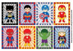 A sheet of 8 superhero characters to use as gift tags or notecards.