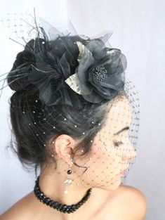 Nice millinery netting. Perfect black fascinator for Halloween