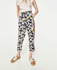 Image 1 of PRINTED TROUSERS WITH SIDE STRIPE from Zara
