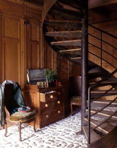 Escalier en colima on en acier et bois spir 39 d co bistrot marches type - Escalier colimacon petit diametre ...