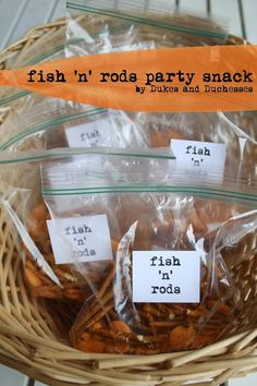 What camping adventure would be complete without a some fresh fish off the rod? No worries if anyone is allergic to seafood. Randi from Dukes & Duchesses created this fun Fish 'n' Rods snack for little birthday guests to enjoy at a camping-inspired party. Retirement Parties, First Birthday Parties, Birthday Party Themes, Boy Birthday, First Birthdays, Birthday Ideas, Theme Parties, Princess Birthday, Camping Parties