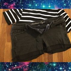 Sale✨AE cut off black distressed shorts✨size 4 Like new American eagle distressed a little and black faded cut off jeans shorts size 4 super cute with a black striped crop or white tank ✨ not free people or urban outfitters ✨ can fit a small - medium American Eagle Outfitters Shorts Jean Shorts