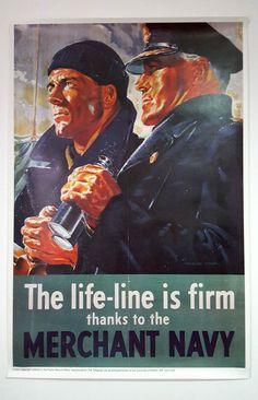 Vintage Reproduction Full Size WW2 Propaganda Poster - Merchant Navy Life Line   eBay