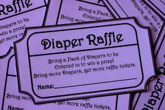This is an awesome idea!!!!    Purple Printable Baby Shower Raffle Ticket