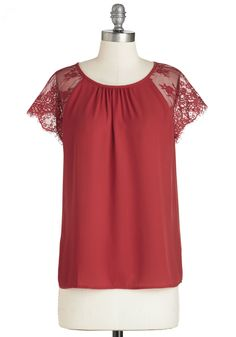 Lunch at the Overlook Top. The midday sun shines onto the distant city skyline as you take a seat by the window in this red blouse! #red #modcloth