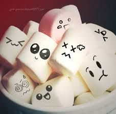 Marshmallows with faces.