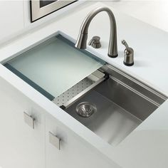 The Novus Undermount Single Bowl Kitchen Sink by Houzer features a dual sliding platforms system that conveniently extend your counter space. The sink is made of 18-gauge T-304 stainless steel, and is equipped with sound deadening pads to reduce excess noise. (scheduled via http://www.tailwindapp.com?utm_source=pinterest&utm_medium=twpin&utm_content=post125898889&utm_campaign=scheduler_attribution)