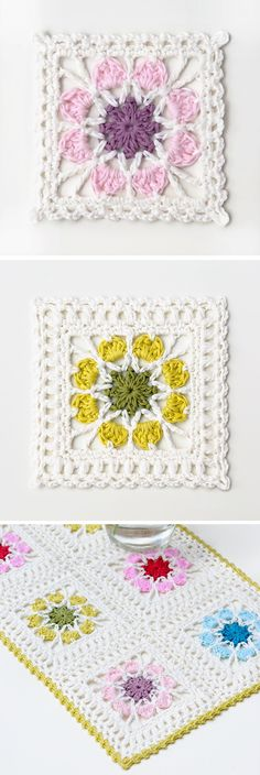 Crochet Flower Square Blanket – Handmade paris Crochet Flower Squares, Granny Square Crochet Pattern, Crochet Blocks, Crochet Motif, Crochet Yarn, Crochet Flowers, Crochet Stitches, Flower Granny Square, Ideas
