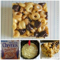 Peanut Butter Cheerios Treats: From: justjennrecipes.com. Use Peanut Butter flavor Cheerios. Some people commented that 6 cups of Cheerios was too much cereal for amount of marshmallow sauce. (Idea: try starting with 3 or 4 cups and add in more as appropriate.)  Very positive comments on flavor.