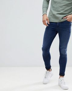 Image 1 of ASOS DESIGN super spray on jeans in dark wash blue Tight Jeans Men, Superenge Jeans, Blue Jeans, Super Skinny Jeans, Skinny Fit, Spray On Jeans, Colored Denim, Jeans Style, Stretch Denim