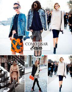 Veja com montar looks de Inverno com peças de verão, saias shorts ou vestidos.