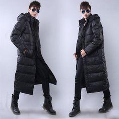 03cf09e761b Men Coat Long Style Down Cotton Clothes Hooded Parka Warm Winter Plus Sz  Stylish Regular Blend Solid China