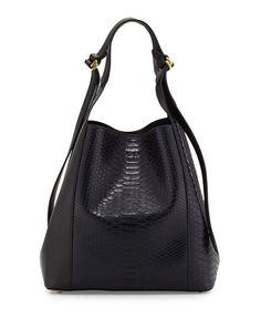 Nina Ricci Faust Python Bucket Bag, Black/Dark Denim