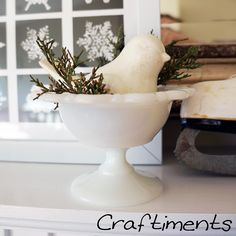 Milk Glass for a White Christmas, Crisp and Clean like snow. ~ Mary Walds Place - Craftiments: Snowy White Winter Mantel
