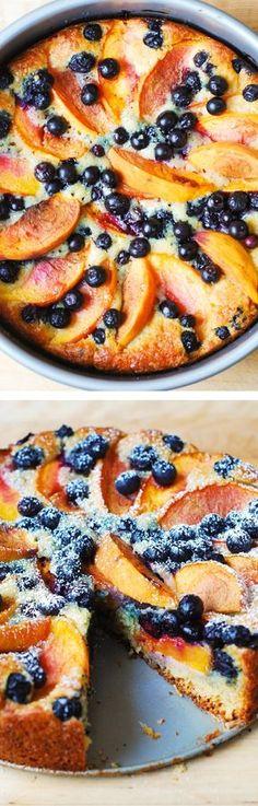 Delicious, light and fluffy Peach Blueberry Greek Yogurt Cake made in a springform baking pan. Greek yogurt gives cake a richer texture! JuliasAlbum.com  #berries #fruit #dessert