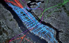 NYC public transit routes - buses are blue, ferries are orange, trains are green, purple and red.     Google Image Result for http://ny.curbed.com/uploads/NYCcommute_buses.jpg